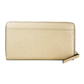 Kate Spade WLRU2169-977 A La Vita Ostrich Neda Sidewalk Zip Around Women's Taupe Leather Wallet