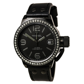 TW Steel TW912 Men's Canteen Swarovski Crystals Black Leather Strap Black Dial Date Watch