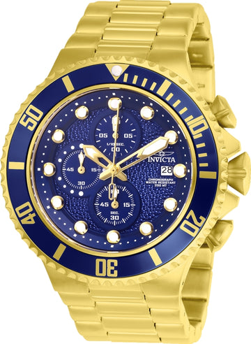 Invicta 25297 Men's Pro Diver Blue Dial Yellow Gold Steel Bracelet Chronograph Dive Watch