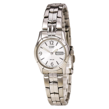 Citizen EQ0540-57A Women's Quartz Day Date Silver Dial Stainless Steel Watch
