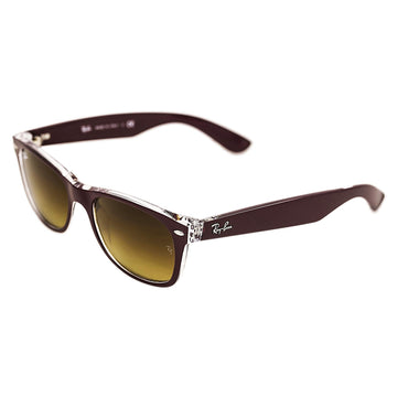 Ray-Ban RB 2132 6054-85 52 Brown Gradient Lenses Unisex Bordeaux & Transparent Frame New Wayfarer Color Mix Sunglasses