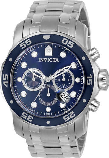 Invicta Men's Pro Diver Chronograph Watch - Quartz Blue Dial Steel Bracelet | 0070