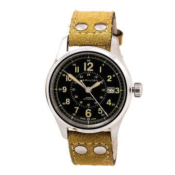 Hamilton H70595593 Men's Leather Swiss Automatic Khaki Field Watch