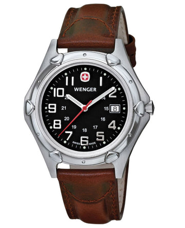 Wenger 73114 Men's Swiss Made Brown Leather Strap Watch