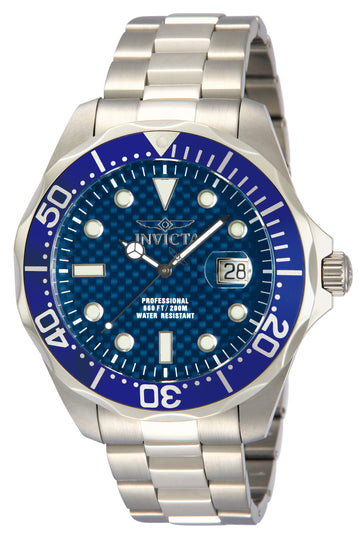 Invicta 12563 Herren Stahlarmband Schweizer Quarz Grand Diver Blue Dial Date Watch