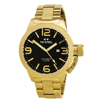 TW Steel CB96 Men's Canteen Bracelet Black Dial Yellow Gold Plated Steel Automatic Date Watch
