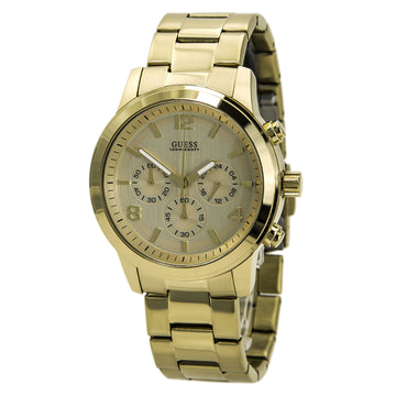 Guess U15061G2 Men's Yellow Steel Bracelet Iconic Signature Chrono Gold Tone Dial Watch