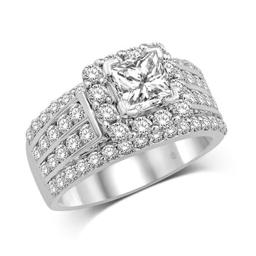 14K White Gold 1 5/8 Ct.Tw. Diamond Fashion Semi Mount Engagement