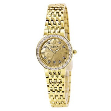 Bulova 98R212 Women's Maiden Lane Gold MOP Dial Yellow Gold Steel Bracelet Diamond Watch
