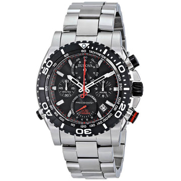 Bulova Men's Chronograph Dive Watch - Precisionist Steel Bracelet Black Dial | 98B212