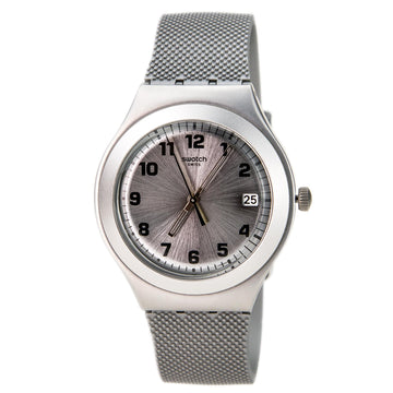 Swatch YGS4032 Men's Silver Effect Swiss Made Silver Silicone Rubber Strap Silver Dial Date Watch