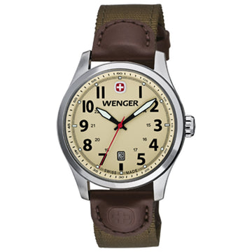 Wenger 0541.108 Men's Terragraph Sand Dial Brown Leather Olive Nylon Strap Watch