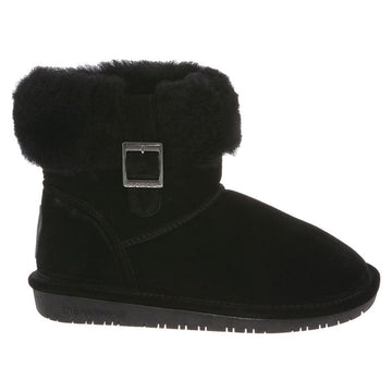 Bearpaw 1257W-001 Women's Abby Cow Suede Black Leather Winter Boot
