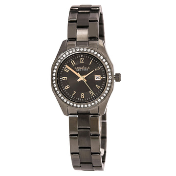 Caravelle 45M110 Women's Gunmetal Steel Bracelet Quartz Crystal Grey Dial Date Watch