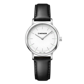 Wenger Women's Strap Watch - Urban Classic White Dial Black Leather | 01.1721.110