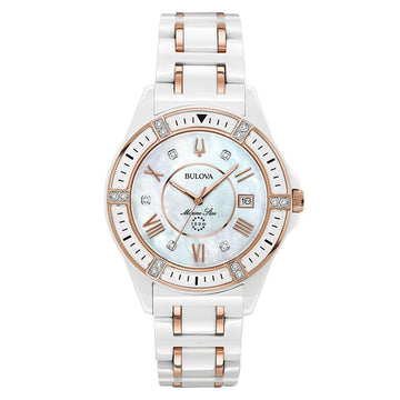 Bulova Women's Ceramic & Steel Bracelet Watch - Marine Star Diamond MOP Dial | 98R241