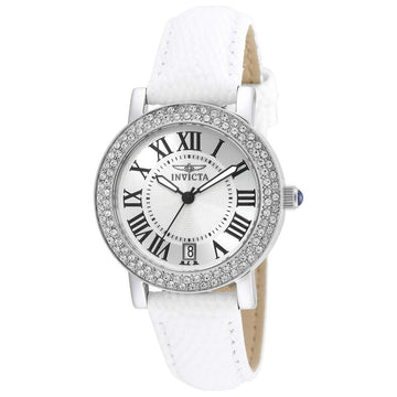 Invicta Women's Interchangeable Leather Strap Watch - Angel Silver Dial Date | 21996