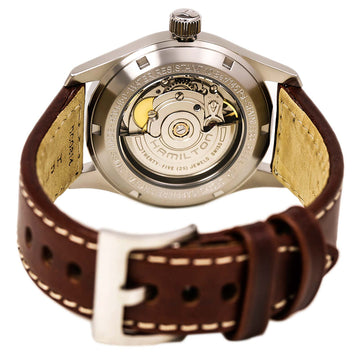 Hamilton H70455553 Men's Brown Leather Band Swiss Automatic Khaki Field Silver Dial Date Watch