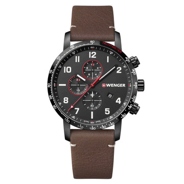 Wenger Men's Swiss Watch - Attitude Chrono Black Dial Brown Strap | 01.1543.107