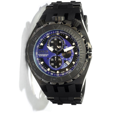 Invicta 0891 Men's Black Polyurethane Band Swiss Quartz Reserve Chrono Blue Dial Date Watch