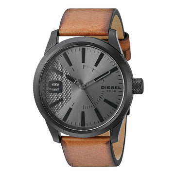 Diesel DZ1764 Rasp Grey Dial Men's Brown Leather Strap Watch