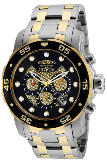 Invicta 25333 Men's Pro Diver Black & Gold Dial Two Tone Steel Bracelet Chronograph Dive Watch