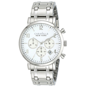 Caravelle 43B138 Men's New York Jasper White Stainless Steel Chronograph Watch