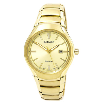 Citizen Men's Eco-Drive Watch - Paradigm Yellow Gold Steel Bracelet Champagne Dial