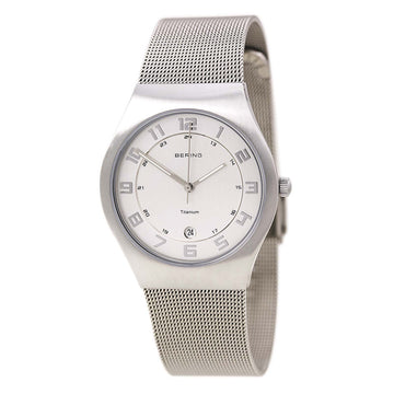Bering 11937-000 Men's Titanium White Dial Mesh Bracelet Watch