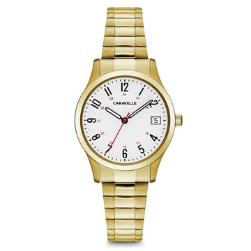 Caravelle 44M113 Women's White Dial Yellow Gold Steel Expansion Bracelet Watch