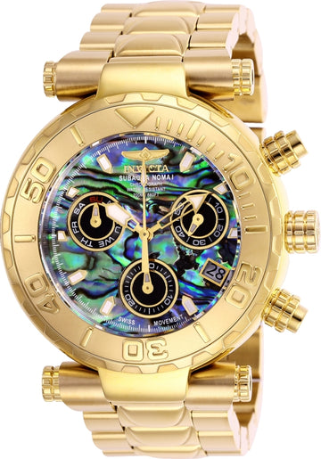 Invicta Men's Chronograph Watch - Subaqua Noma I Abalone Dial Yellow Steel | 25801