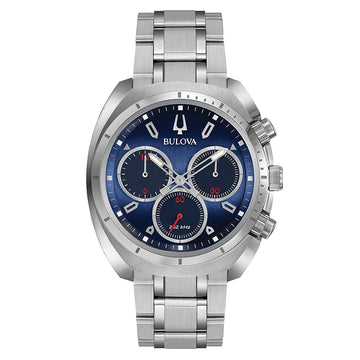 Bulova Men's Chronograph Watch - Curv Quartz Steel Bracelet Blue Dial | 96A185