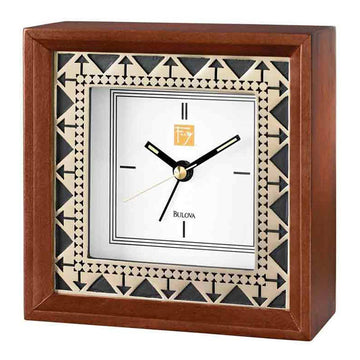 Bulova B7766 Beth Sholom White Dial Walnut Solid Wood Alarm Clock