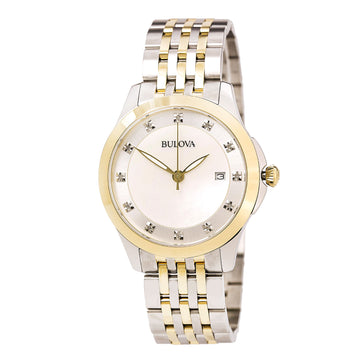 Bulova 98P161 Women's Diamonds Two Tone Steel White MOP Dial Watch
