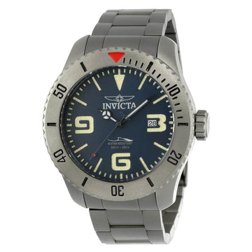 Invicta Men's Automatic Watch - Pro Diver Blue Dial Grey Titanium Bracelet | 23127