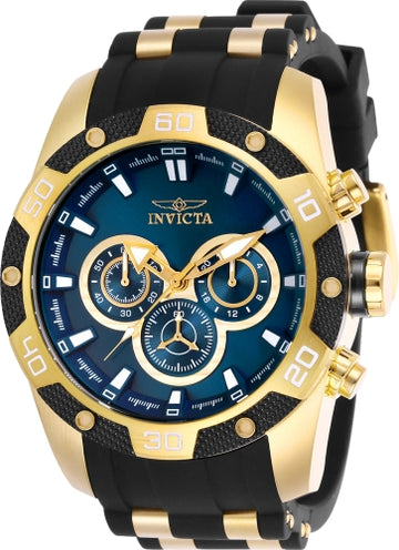 Invicta Men's Chronograph Watch - Speedway Blue Dial Steel & Rubber Strap | 25836