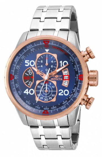 Invicta 17203 Men's Aviator Blue Dial Stainless Steel Bracelet Chronograph Watch