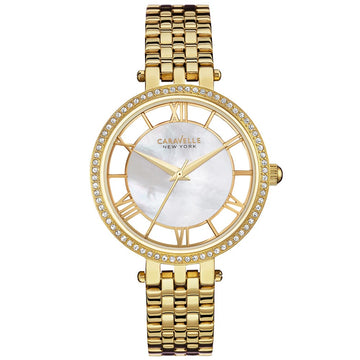 Caravelle 44L170 Women's Yellow Steel Bracelet Quartz White Mother of Pearl Dial Crystal Watch