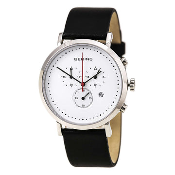 Bering 10540-404 Men's Classic White Dial Black Leather Strap Chronograph Watch