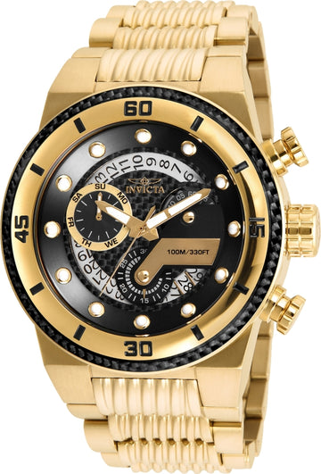 Invicta 25282 Men's S1 Rally Black Carbon Fiber Dial Yellow Gold Steel Bracelet Chronograph Watch