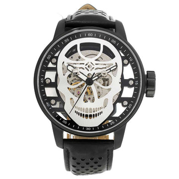 Invicta 20194 Men's S1 Rally Mechanical Black & Silver Skeleton Dial Black Leather Strap Watch