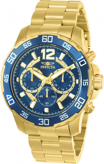 Invicta 22714 Men's Pro Diver Blue Dial Yellow Gold Steel Bracelet Chronograph Watch
