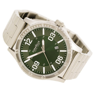 Caravelle 43B129 Mens New York Green Dial Stainless Steel Bracelet Date Watch