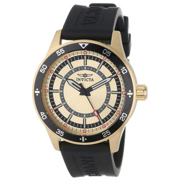 Invicta 14334 Men's Specialty Gold Dial Gold Plated Steel Black Rubber Strap Watch
