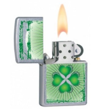 Zippo 28659 Street Chrome Clover Design Classic Windproof Pocket Lighter