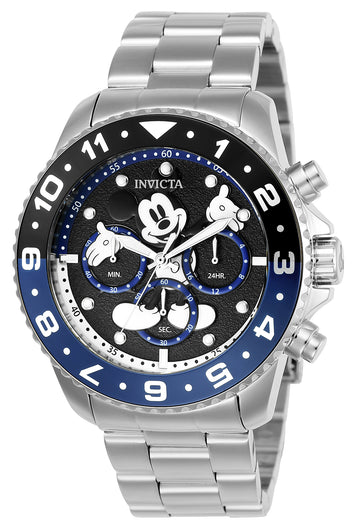 Invicta 24952 Men's Disney Black Dial Stainless Steel Bracelet Chronograph Dive Watch