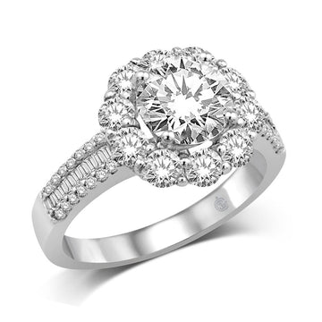 14K White Gold 1 3/8 Ct.Tw Semi Mount Engagement Ring
