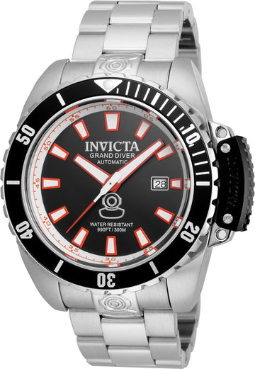Invicta 21785 Men's Steel Bracelet Automatic Grand Diver Black Dial Date Watch