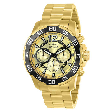 Invicta 22715 Men's Pro Diver Gold Tone Dial Yellow Gold Steel Bracelet Chronograph Watch