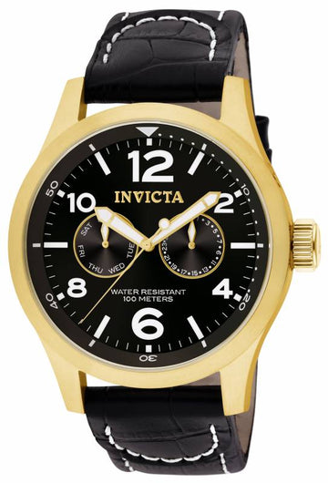 Invicta 10491 Men's I-Force Specialty Black Dial Black Leather Strap Watch